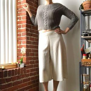 Sag Harbor Pants - Cropped Palazzo pants, side zip, oatmeal Lino