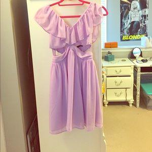 Lavender side cut out dress
