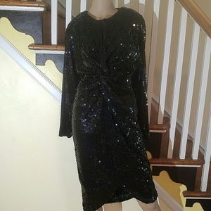 Vintage Black Sequin Cocktail Sparkling Dress 8