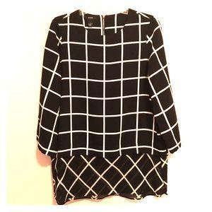 Alfani Tops - ALFANI window pane black white blouse