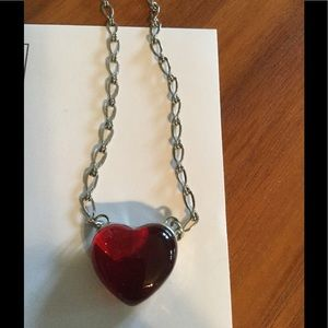 Jewelry - Beautiful red Glass Heart ❤️ on silver chain ❤️❤️