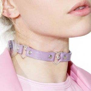 DOLLSKILL TRIPLE HEART CHOKER NECKLACE  PURPLE 