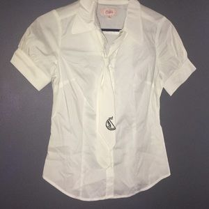 Candie's Tops - White Button Shirt with Tie Candies Size S NEW