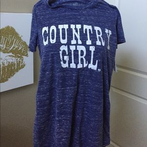 Blue Navy Marble Country Girl Shirt