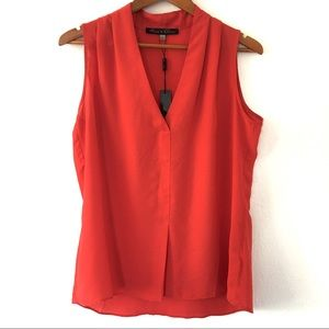 NWT Rose & Olive Red Sleeveless Chiffon Top