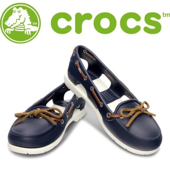 82fa90225 CROCS Shoes - 🌺 Navy   White Beach Line Boat Shoes
