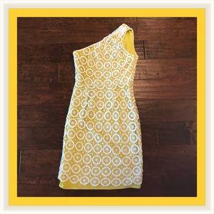 One shoulder White Crochet w/ yellow lining Dress