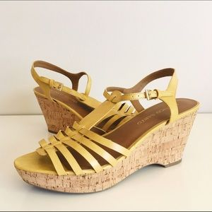 Franco Sarto Shoes - Franco Sarto Yellow Strappy Wedges Size 10