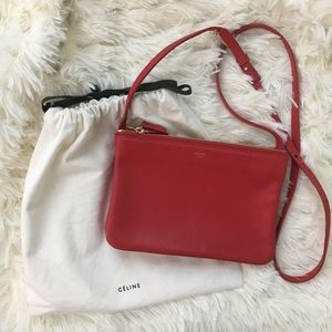 Celine Handbags - Celine Trio Crossbody Clutch Small Bag in Red