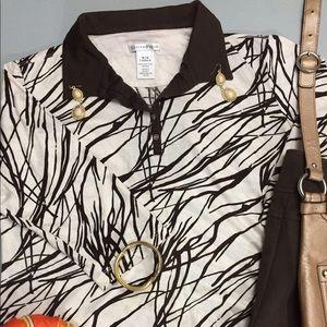 Cutter & Buck Tops - Cutter & Buck brown and beige collared shirt