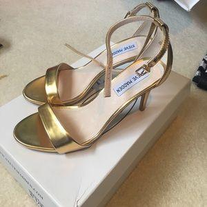 Steve Madden Gold Ankle strap heels