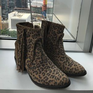 Matisse Shoes - • marissa leopard booties with fringe detail•