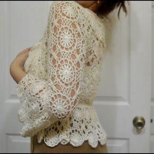 Spiegel Sweaters - Crochet Mid Sleeve Shawl