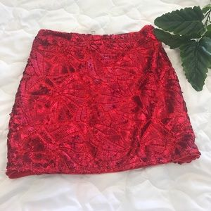 H & M red sequence mini skirt size small