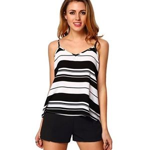 Bold Striped Low Back Cropped Summer Cami Medium