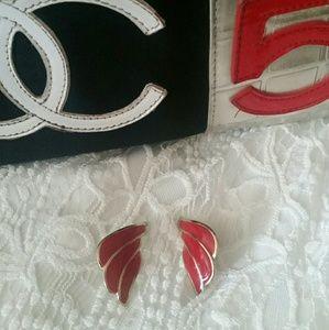 Vintage Stud Earrings Enamel Red Wing Design