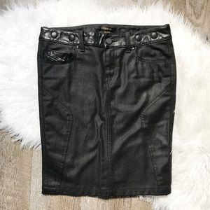 Diesel Black Gold Dresses & Skirts - Diesel Black Gold Leather Trim Denim Skirt