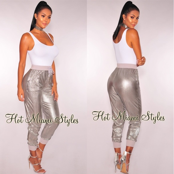 7832b7d28c00 Hot Miami Styles Pants - Hot Miami Styles Silver Jogger Pants