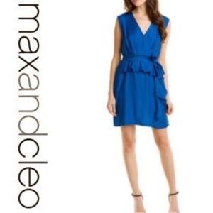 Max & Co. Dresses & Skirts - Max & Cleo BLUE DRESS midi peplum sheath M wrap