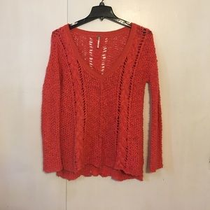 Free People orange v-neck sweater