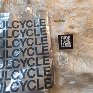 Soulcycle set! Bag, tattoo, pin, cup, and sticker