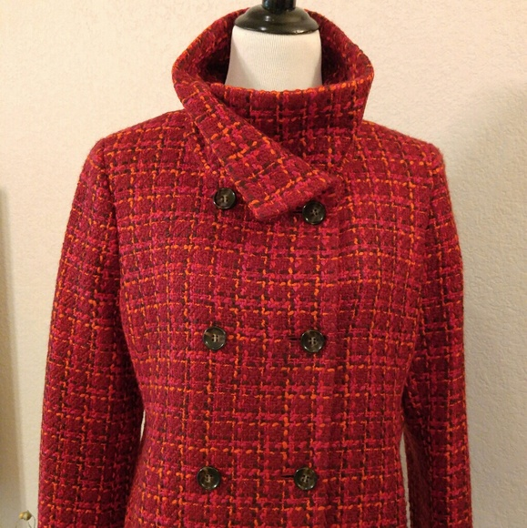Talbots Jackets & Coats - Talbots Red and Pink Plaid Pea Coat Jacket