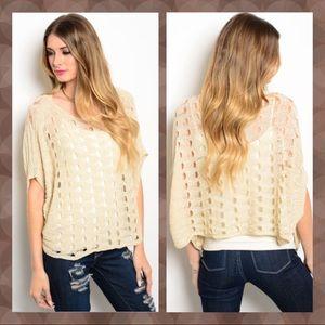 Sweaters - Cream Crochet Batwing Sweater