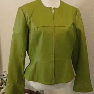 Spring Green Peplum Leather Jacket