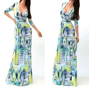 Dresses & Skirts - Green/yellow maxi DRC136