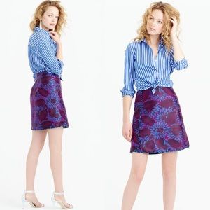 J. Crew Purple Blue Floral Print Mini Skirt