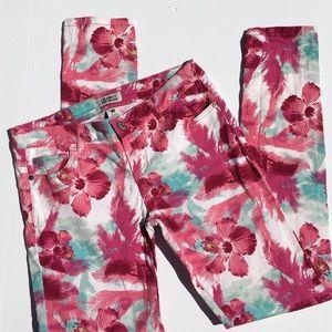 Celebrity Pink Denim - Pink Hibiscus & Palm Fronds Jeans