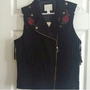 NEW Rebel Rose Fringe Vest Suede