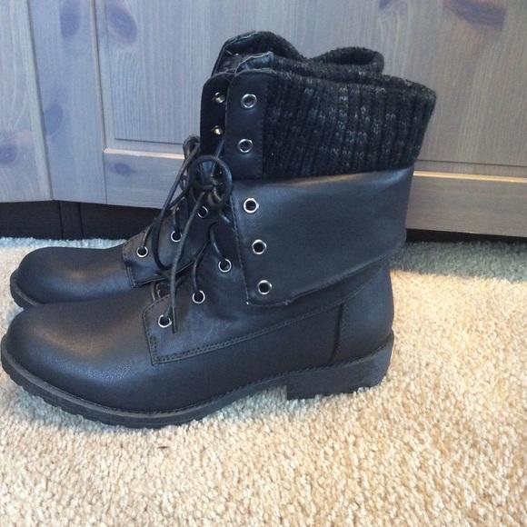 Shoes Sweater Cuff Combat Boots Sz 9 New Poshmark
