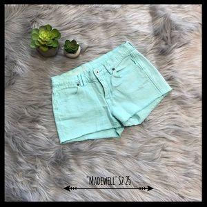 Madewell Pants - Madewell Light Teal Colored Denim Cutoff Shorts