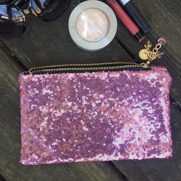 43% off Handbags - Glitter pink makeup bag, pink clutch ...