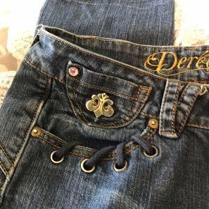 Dereon Denim - Dereon lightly distressed/embroidered lowrise jean