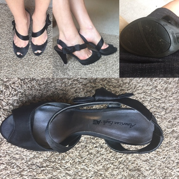 67 american eagle by payless shoes black satin