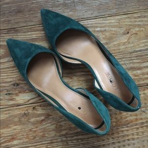 J. Crew Shoes - J. Crew Collette Suede D'orsay Pumps in Blue-Green