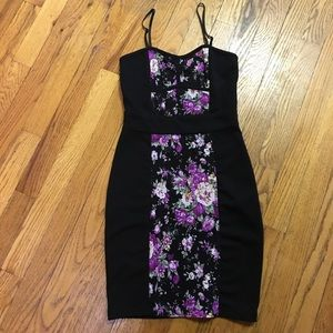 Dresses & Skirts - Black fitted mini dress with purple flower print