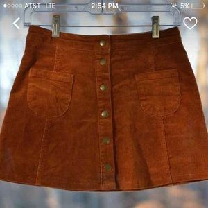 Brandy Melville Camel Button Up Corduroy Skirt