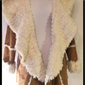 Fabulous Furs Jackets & Blazers - Faux Suede and Shearling Hooded Jacket