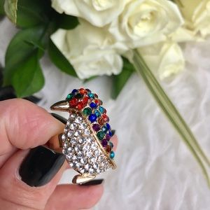 Jewelry - Rhinestone penguin statement ring adjustable