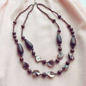 Jewelry - Boho 2 Tier Wooden Bead Necklace