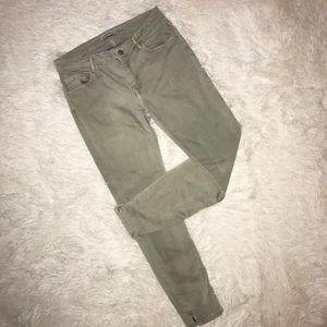 Zara Green Slim Fit Jeans Pants Ankle Zipper 8/40