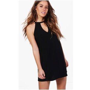 Keyhole Halter Tie V-neck Little Black Dress 4p 4