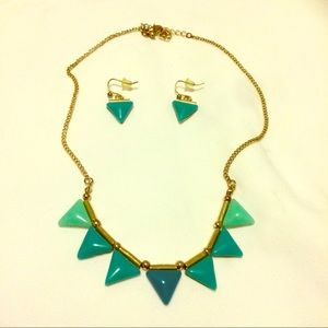 Turquoise inspired triangle necklace earring set