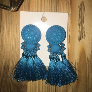New H&M Teal Tassel Dangle Earrings Turquoise