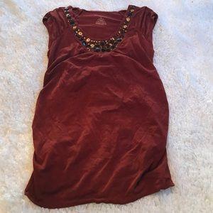 Liz Lang maternity t-shirt in rust color