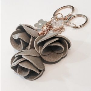 """Accessories - Gray """"Coming Up Roses"""" Bag Charm/Key Fob"""