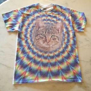 Gildan Tops - Psychedelic Crazy Kitty Cat T-Shirt Gildan Medium